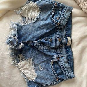 Distressed Denim Shorts- Free People